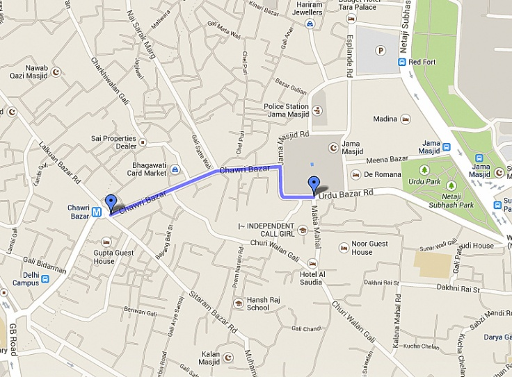 Driving directions to chawri bazar - Google Maps - Google Chrome 28-11-2013 230507.bmp