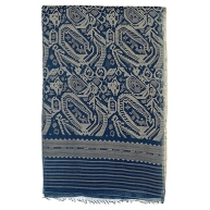 NILAMBAR JAMDANI SARI DHAKA, BANGLADESH, 1984 Handspun and handwoven cotton, natural dyes, indigo 218 x 46.25 in (553.8 x 118 cm)