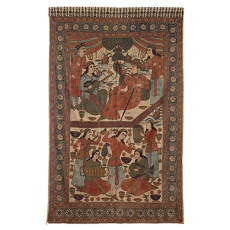 PICTORIAL KALAMKARI WITH MUSICIANS AND DANCERS ISFAHAN, IRAN, CIRCA 1930 Handspun and handwoven cotton, hand drawn and painted, natural dyes 59 x 95.5 in (150 x 243 cm)
