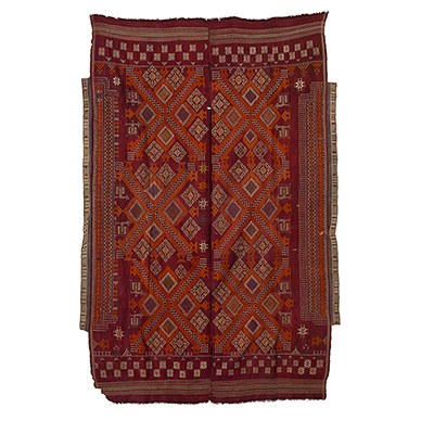 JAT WOMAN'S ODHNI SHEKHAWATI, RAJASTHAN, CIRCA 1930 Handspun and handwoven wool, hand embroidered with cotton thread, natural dyes 51 x 81.5 in (130 x 207 cm)