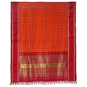 PUJA SARI ORANGE WITH RED PALLAV KANCHIPURAM, TAMIL NADU, 1958 Handspun and handwoven silk, real gold thread (zari), synthetic dyes 214.75 x 46 in (546 x 117.2 cm)