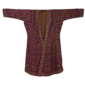 EMBROIDERED PASHMINA ROBE KASHMIR, LATE 19TH CENTURY Handspun and handwoven Pashmina, hand embroidered, natural dyes Length 51.75 in (132 cm), Sleeve span 61.75 in (157 cm)